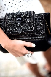 black,skull,black skull,black bag,black purse,jewels,black jewels,handbag,alexander mcqueen,couture,texture,bag,clutch,embellished,statement,accessories