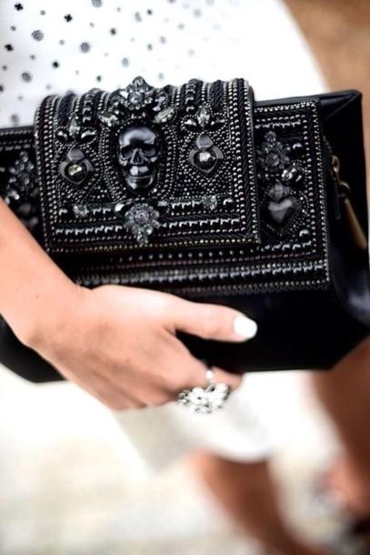 black skull black skull black bag black purse jewels black jewels handbag alexander mcqueen couture texture bag clutch embellished statement accessories
