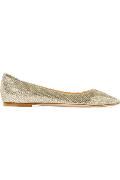 Jimmy Choo flats gold shoes