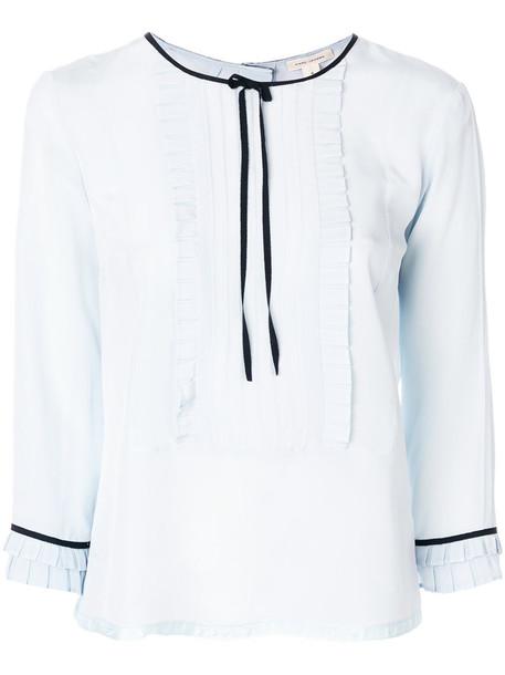 blouse ruffle women blue silk top