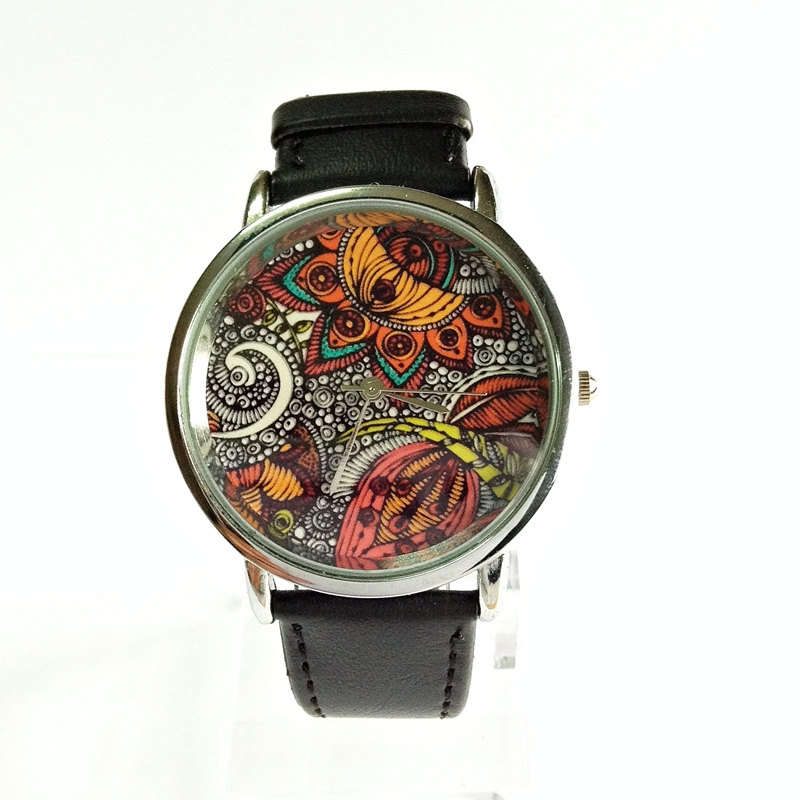 Paisley and Floral Watch, Vintage Style Leather Watch, Women Watches, Unisex Watch, Boyfriend Watch, Black,