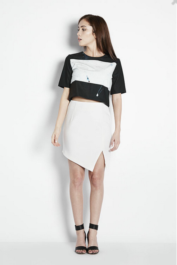 top art crop painting skirt