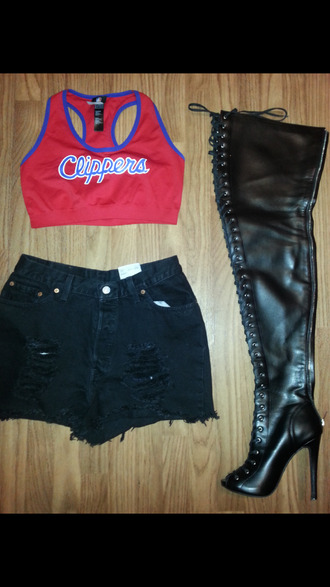 shoes blackbarbie myfashion trendy cute outfits basketball jersey sports bra high waisted shorts swag cut off shorts thigh high boots jersey fashion summer time fine shirt shorts