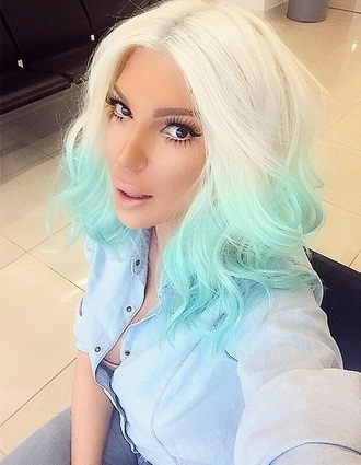 hair accessory blonde hair blue blue hair tie dye tie dye hair denim jacket denim make-up nude makeup lashes nude lipstick hairstyles hair dye jelena karleusa