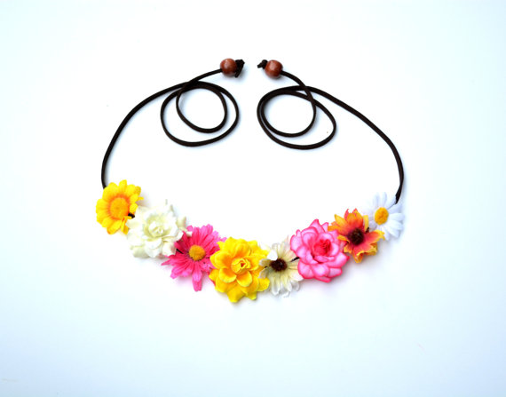 Pink yellow and white wildflower mixed halo floral crown flower halo bohemian headpiece hipster tumblr flower crown flower hippie child