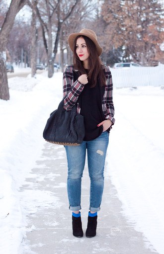 adventures in fashion blogger jacket top jeans bag hat shoes jewels printed blazer felt hat tartan plaid skinny jeans ripped jeans cuffed jeans blue jeans