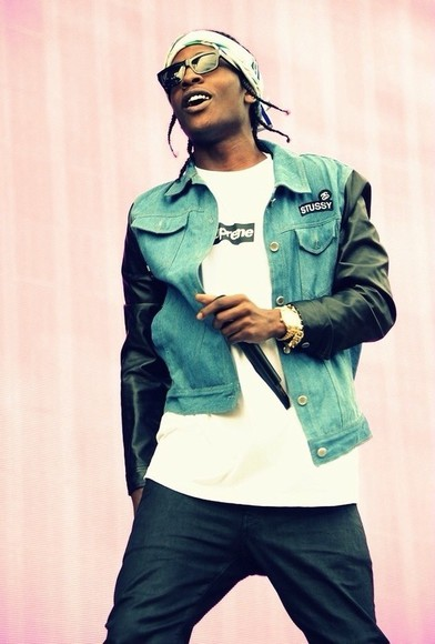 jacket asap ASAP Rocky a$ap a$ap rocky denim leather stussy