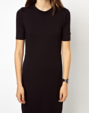 Monki | Monki Body-Conscious Midi Dress With Side Zip Detail at ASOS