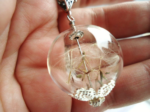 Dandelion Seed Glass Orb Terrarium Necklace in Silver, Medium Orb In Silver, Hipster Jewelry