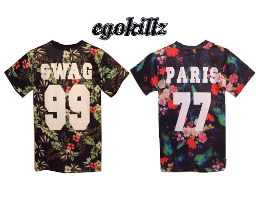 Egokillz 2014 paris vintage tropical flowers and swag digital letter Women male short sleeve-inT-Shirts from Apparel & Accessories on Aliexpress.com