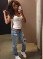 jeans,girl,curly hair,boyfriend jeans,skinny jeans,denim,shoes,outfit,ootd,tank top,white,white top,top,african american,cute,body,nike,sneakers,natural hair,ripped jeans,distressed denim,white tank top
