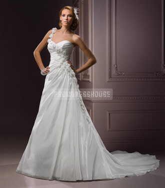 one shoulder wedding dress wedding clothes a line glamorous