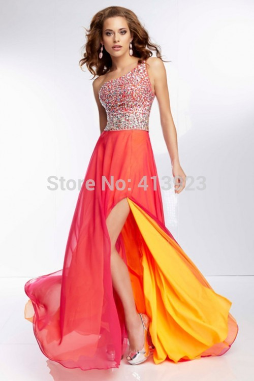 Aliexpress.com : Buy 2014 Beautiful Multi Color One Shoulder Beaded Bodice Backless Prom Dress With A Sexy Slit Chiffon from Reliable dress size suppliers on Chaozhou City Xin Aojia dress Factory