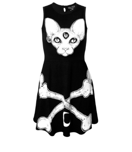 bones goth dark cats meow sphynx cat sphynx third eye three eyes little black dress