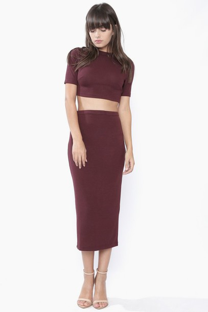 Skirt: dark red, long skirt, midi skirt, high waisted skirt ...