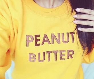 sweater yellow brown sweatshirt peanut peanut butter
