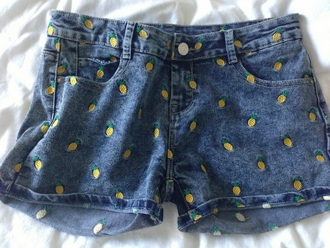 shorts denim shorts pineapple print boho patterns shorts summer outfits pineapple shorts denim pineapple jeans dark blue button yellow fruits cute fashion nice pants be fashionable