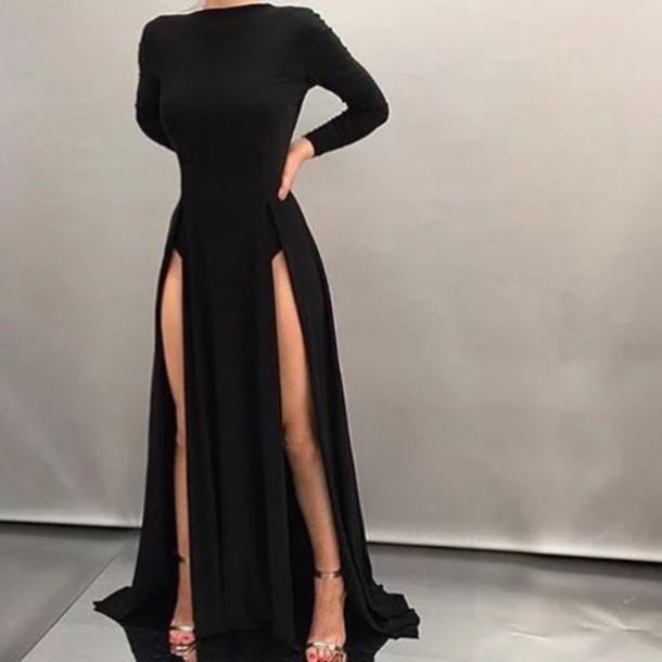 Dress Black Dress Long Sleeves Double Slit Dress