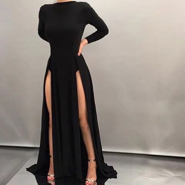 2ada12ed5d dress black dress slit dress black gown double slit dress evening dress  maxi long sleeves maxi