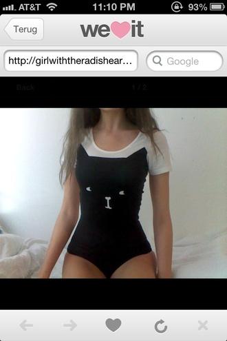 shirt cats body bodysuit swimwear black white pretty