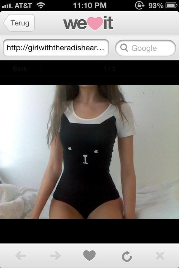 shirt cats cats body bodysuit swimwear swimwear black white pretty