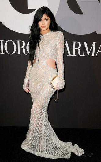dress kylie jenner sparkle silver long dress long sleeves long sleeve dress see through see through dress bodycon dress