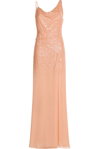 gown embellished orange dress