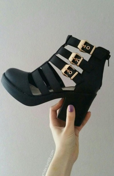 shoes cut out ankle boots heels boots black