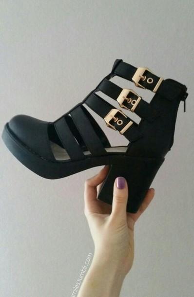 shoes cut out ankle boots shoes perfect blanck clack black gold black shoes heels boots