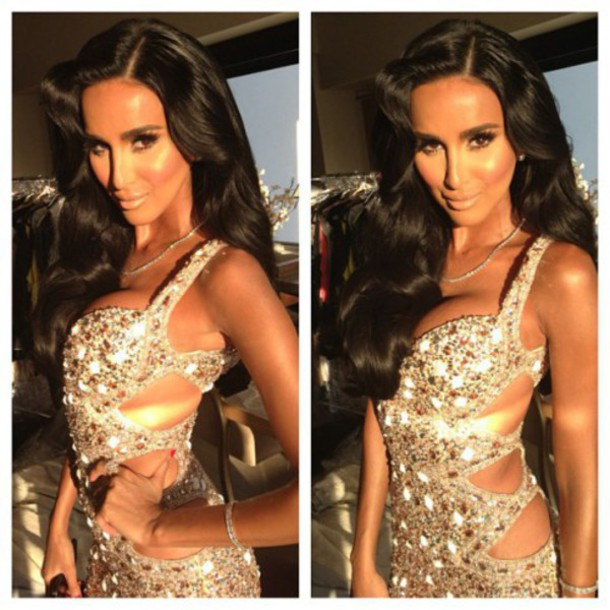 dress lily ghalichi prom dress prom rhinestones prom gown cut-out dress glitter glitter dress glitter prom dress fabulous
