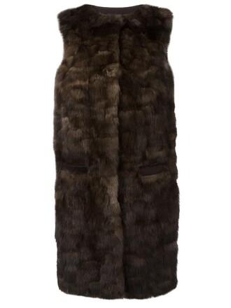 coat fur coat sleeveless fur women brown