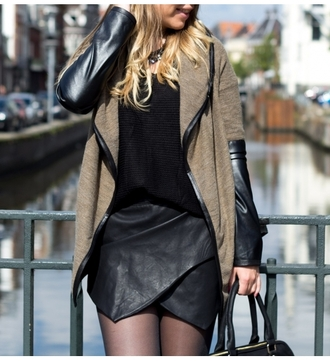 coat leather jacket skirt