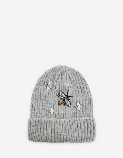 bee beanie grey hat