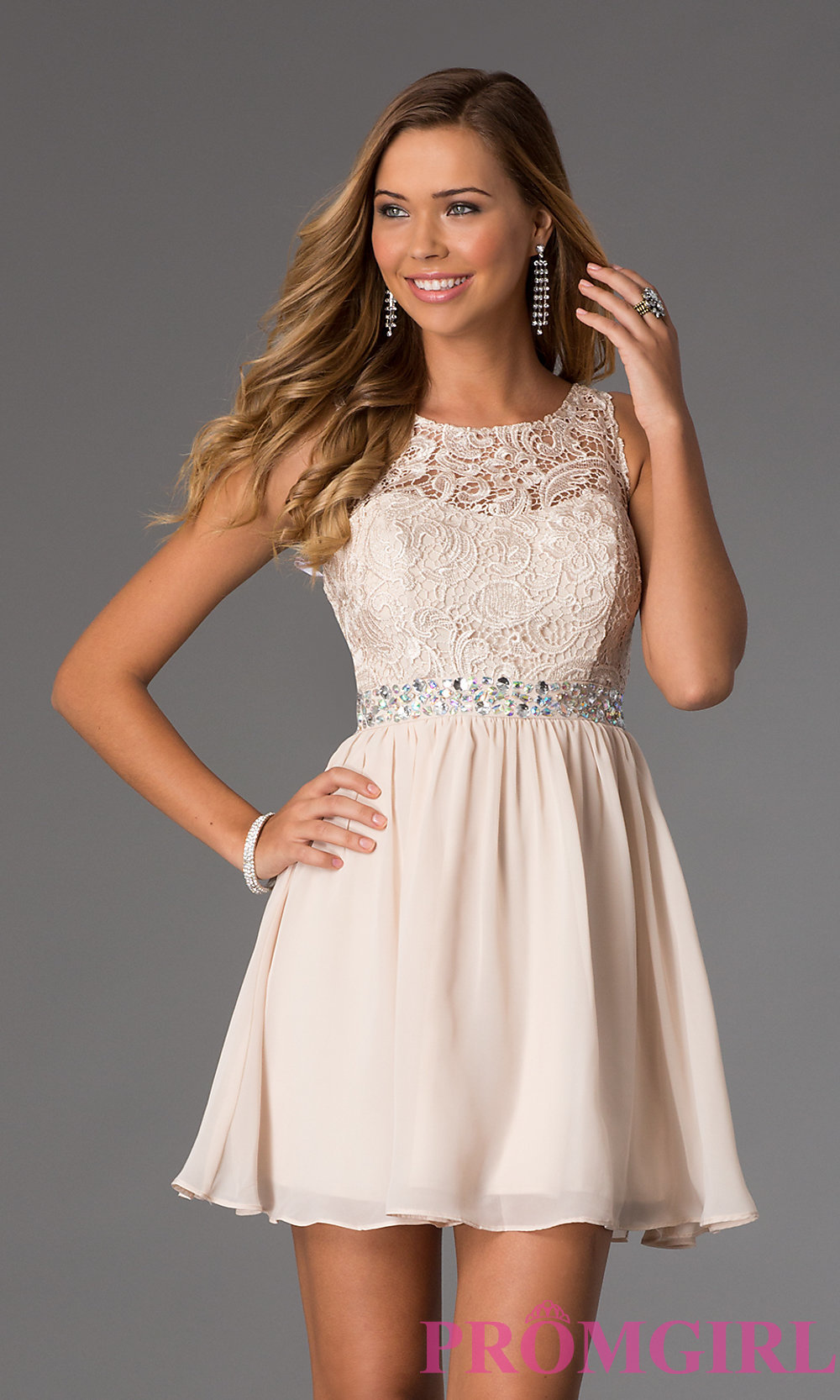 Sleeveless Dress with Lace Bodice