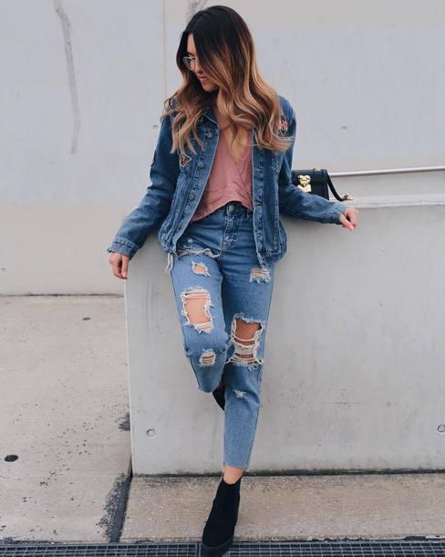 Jeans Tumblr Blue Jacket Denim Jacket Denim Blue Jeans Ripped
