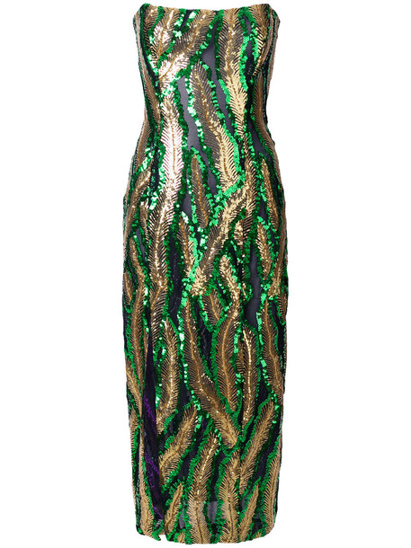 HALPERN dress midi dress strapless women midi embellished silk green