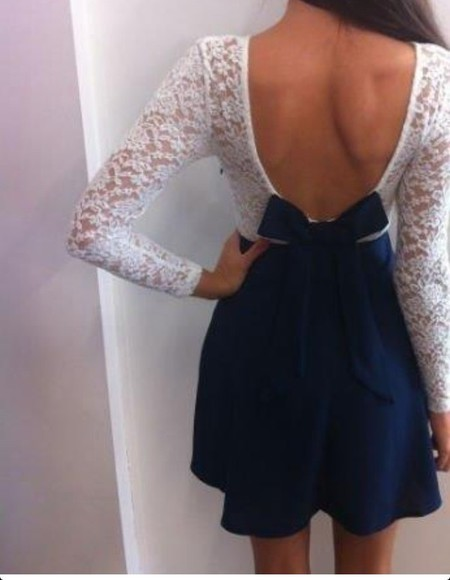 dress bow Bow Back Dress lace dress lace white lace navy