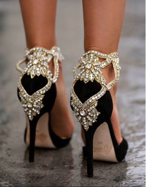 Shoes: heels, prom shoes, pumps, black heels, gold sequins ...