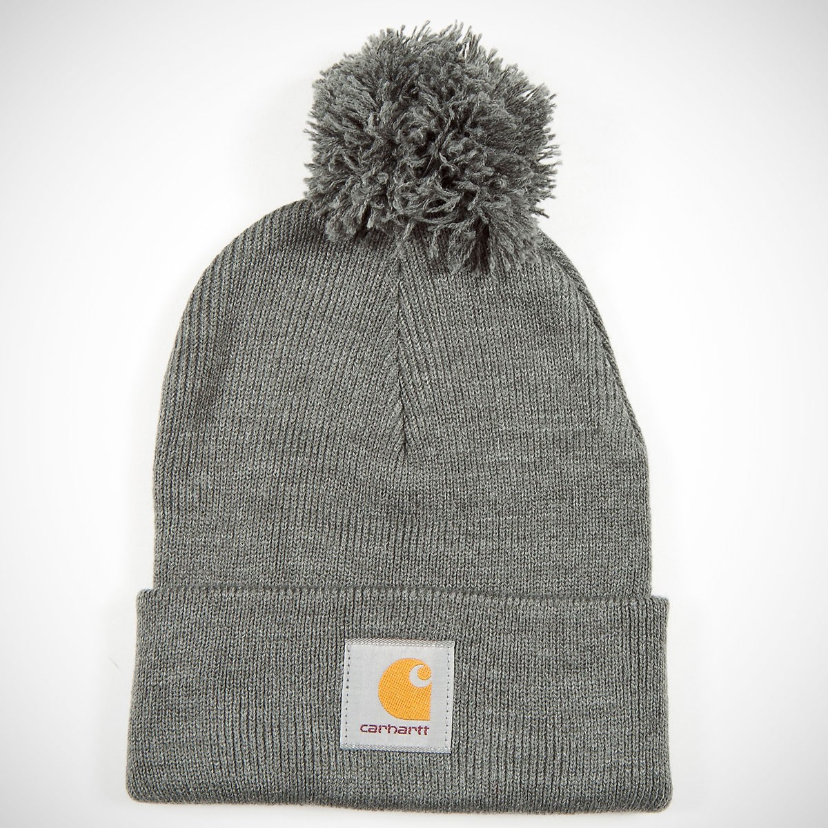 Carhartt Bobble Watch Pom Cuff Beanie Grey Heather