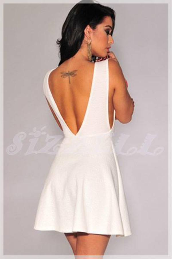 dress white dress skater dress deep v dress deep v cut-out dress