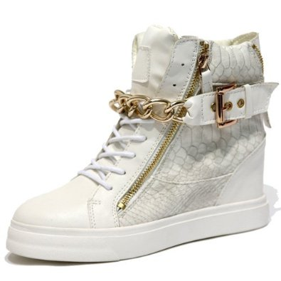 Amazon.com: women's gold metal chain strap white wedge high top sneakers ankle boots: shoes