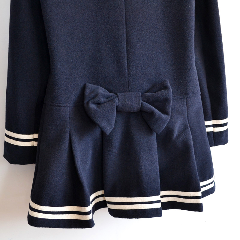 Navy Long Sleeve Double Breasted Bow Ruffle Coat - Sheinside.com