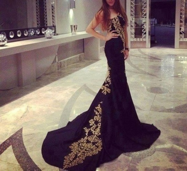 Dress Dolce And Gabbana Gold Black Prom Dress Black And Gold