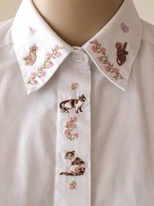 shirt,blouse,top,cats,pink,flowers,t-shirt,white shirt,white blouse,floral,embroidered,sheer,flowy,collar,button up,pale,cute,emboss,kawaii,kawaii accessory,kawaii shirt,kawaii outfit,instagram,tumblr,tumbrl outfits,white,embroidered shirt