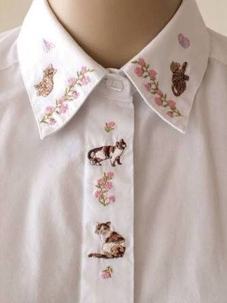 shirt blouse top cats pink flowers t-shirt white shirt white blouse floral embroidered sheer flowy collar button up pale cute emboss kawaii kawaii accessory kawaii shirt kawaii outfit instagram tumblr tumbrl outfits white embroidered shirt