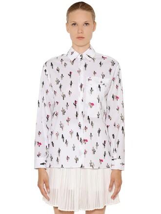 shirt cactus cotton print white top
