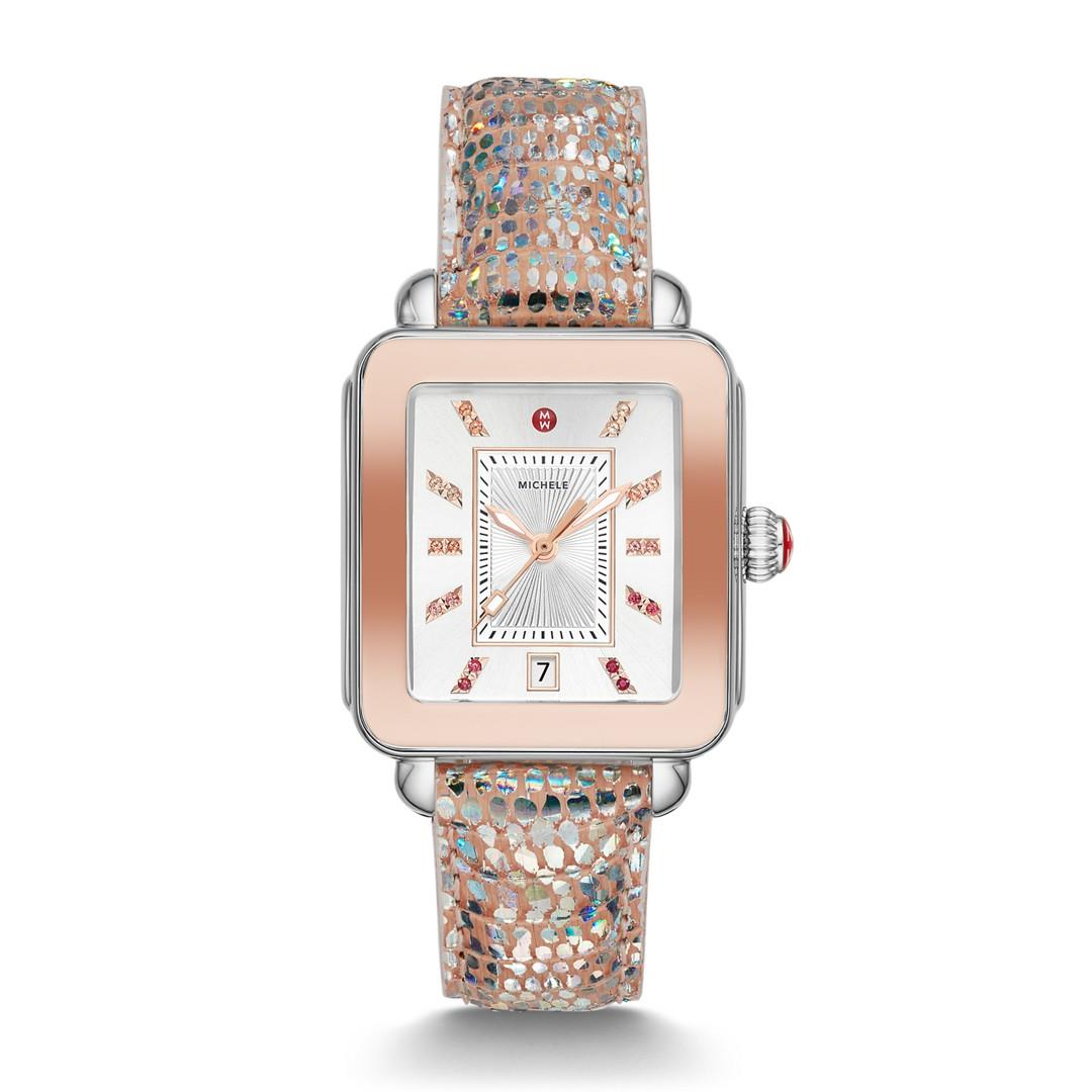 Michele Deco Sport Two-Tone Pink Gold Tone Iridescent Lizard Watch  Jewelry - MWW06K000026