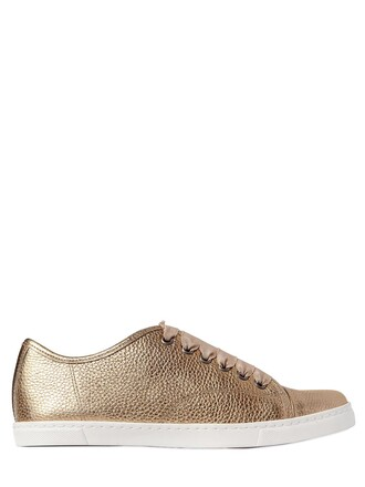 metallic sneakers leather gold shoes