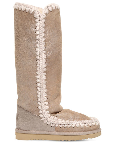 MOU 20mm Eskimo 40 Metallic Wedge Boots in beige / beige