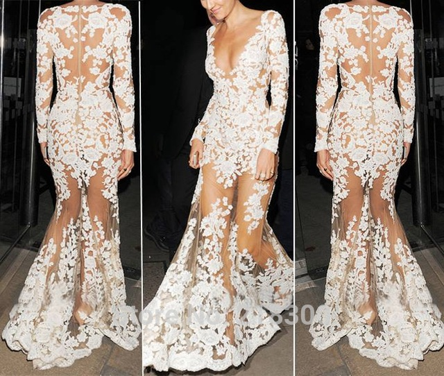 com : Buy Long Sleeves Mermaid Prom Dresses Illusion Lace White ...